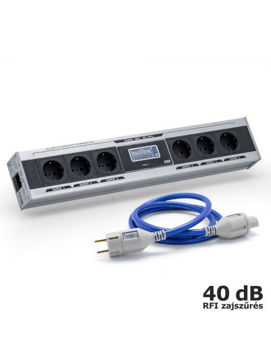 IsoTek EVO3 Sirius - tápelosztó és szűrő + EVO3 Premier 1,5 m tápkábel /Ezüst/