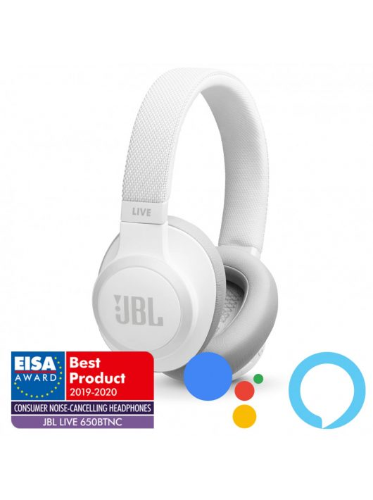 JBL LIVE 650BTNC zajszűrős bluetooth fejhallgató /Fehér/