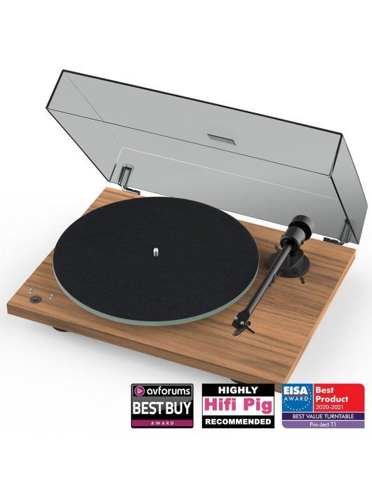 Pro-Ject T1 Phono SB analóg lemezjátszó + Ortofon OM5 hangszedő /Dió/ - enyhén karcos bemutató darab